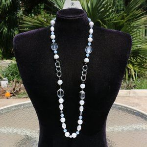 New! Long Boho Pearl & Bead Statement Necklace